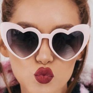 Accessories - White frame orange heart sunglasses.NWT